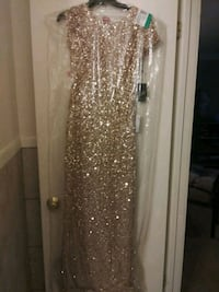 New Adrianna Papell gold sequined gown 897 mi