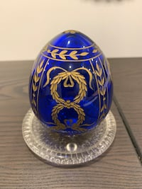 Decorative Blue Glass Russian Egg