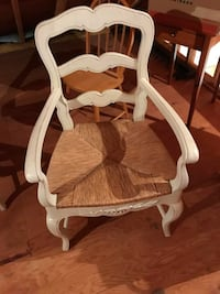 Pair French country chairs with wicker seats