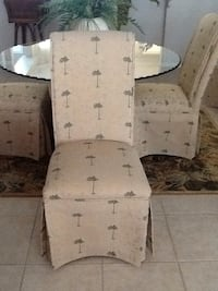 two brown wooden framed white padded chairs Port Orange, 32128
