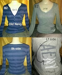 Junior's sizes S/M $2 each or 2 for $3