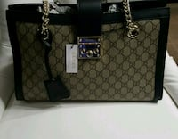black and brown Gucci monogram tote bag Mississauga, L5W 1P1
