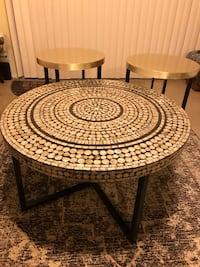 "New breathtaking set of handcrafted mosaic tables coffee 31x18"" end table 18x20"" click on my profile picture on this page to check out my other listings message me if you interested pick up in Gaithersburg Maryland 20877 26 km"