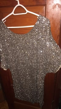 Tan/brown sequins dress, beautiful on. Size Large Chatham-Kent, N0P 2L0