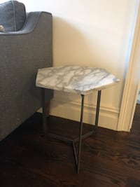 West Elm Hex Side Table White Marble Raw Steel