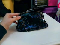 blue sequinned snap coin purse