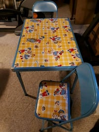 folding childrens table and 2 chairs Calgary, T3A 4R7