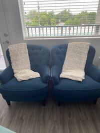 Navy Wingback Accent Chairs