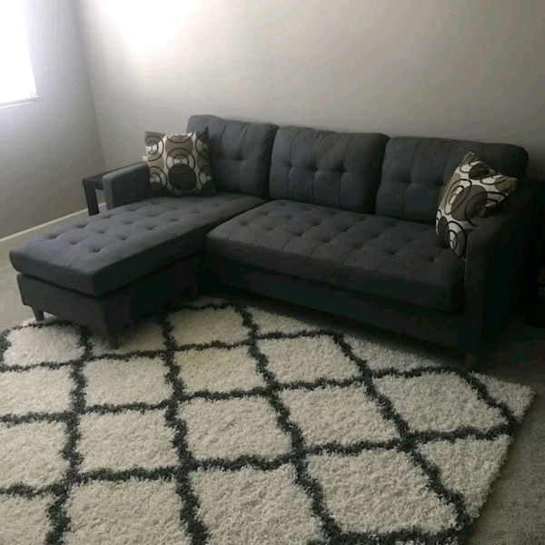 Used Brand New Grey Linen Sectional Sofa Couch For Sale In