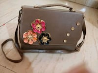 black and pink floral leather crossbody bag Thane, 400615