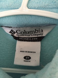 children teal columbia zip up jacket,sz2-3t