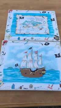 Pirate themed canvas art (2) for kids room. Stratford, 06614