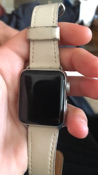 silver aluminum case Apple Watch with white sport band Aldie, 20105
