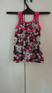 toddler girl's black, pink, and white floral tank dress