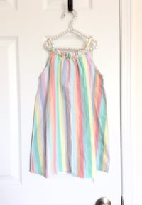 H&m toddler rainbow striped dress with gold trim- new with tags