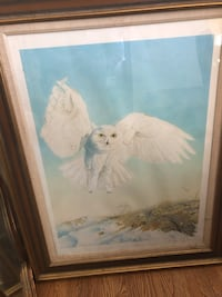 White and blue bird painting