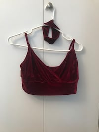 Maroon velvet crop top and choker Vancouver, V6B