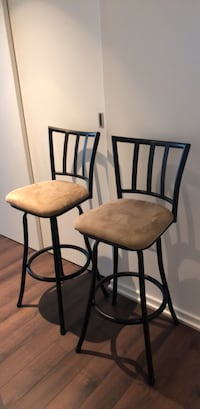 two black metal framed brown padded chairs Mc Lean, 22102