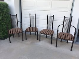 4 wrought iron dining chairs / kitchen chairs