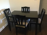 Rectangular black wooden table with four chairs dining set Henrico, 23233