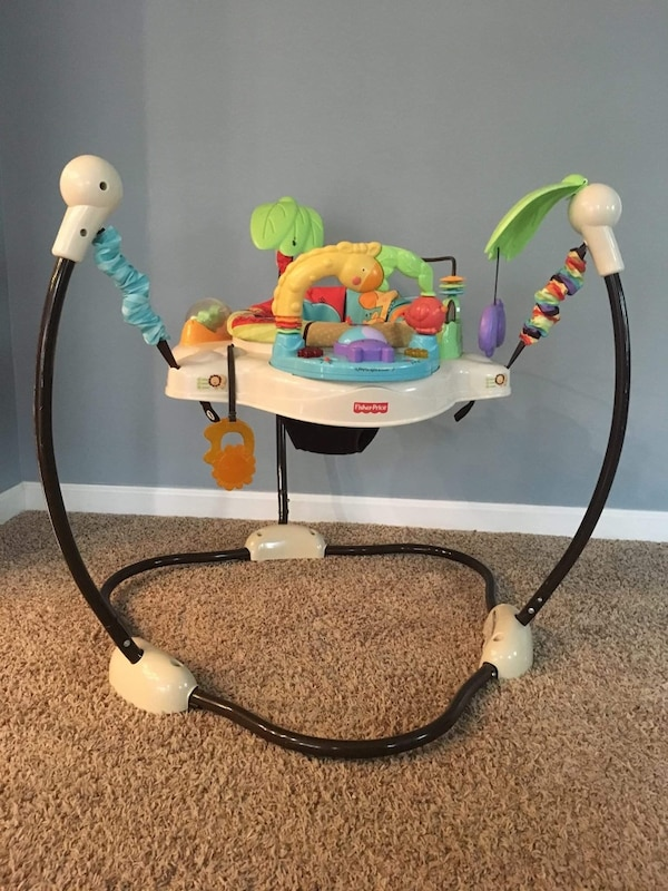 Used Fisher-Price jumperoo and pack 'n' play with carrier (plus miscellaneous baby toys) for ...