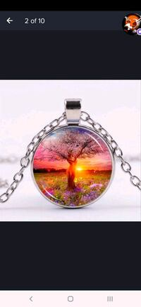 Tree of life photo Tibet silver cabochon glass pendant chain necklace