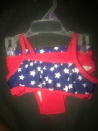 toddler's red, blue, and white bikini size 12 months