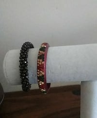 black and pink beaded bracelets