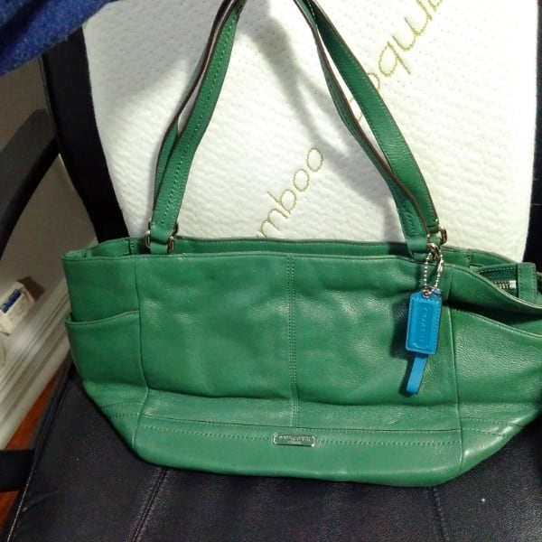 green leather 2-way handbag