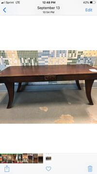 Leather top coffee table. Needs a little TLC. Perfect piece for the DIY savvy!!! Make an offer