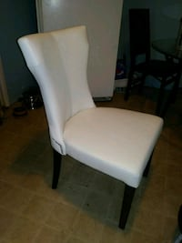 White studded leather dinning chair