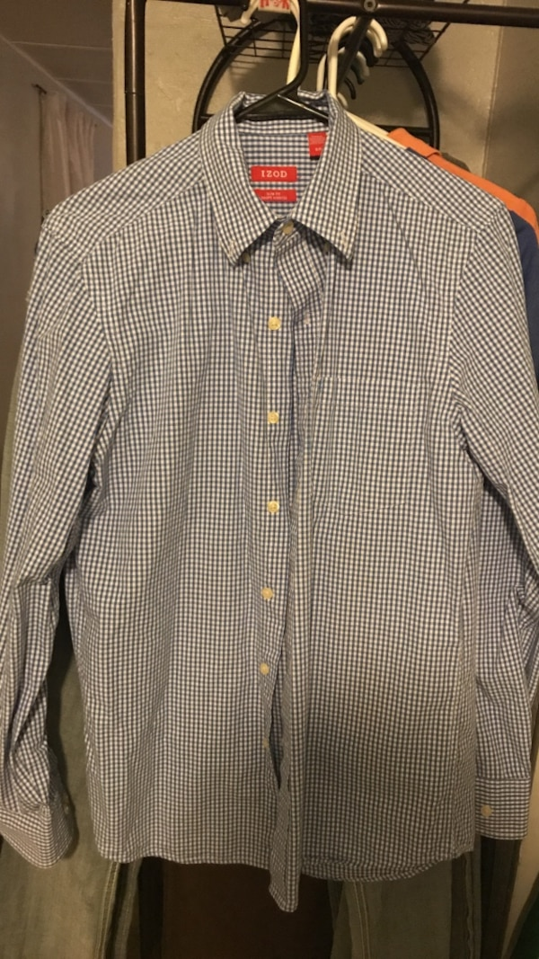 izod blue and white dress shirt