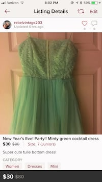 New Year's Eve! Mint green cocktail dress size 7 Newtown, 06470