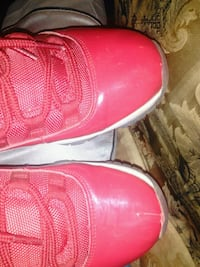pair of red leather shoes