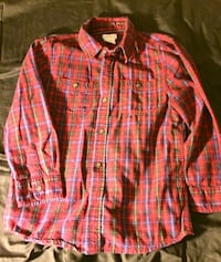 Joe fresh red plaid shirt & green/blue lightweight knit sweater...size 8...Euc North Vancouver, V7M 1C9