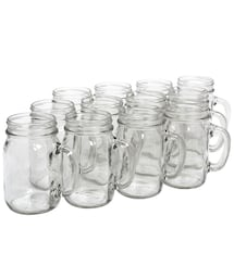 16oz Plain Mason Jars w Handles- Pack of 30