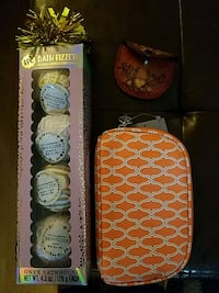 Bath fizzes, makeup bag and leather coin holder