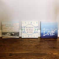 Home decor: 3 canvases, wall art Ottawa, K1L 7W5