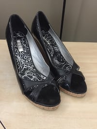 Exe Black Wedge Cork Shoes West Kelowna