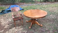 Round oak dining room table with six matching ladder back chairs insert available to create oval Old Tappan, 07675