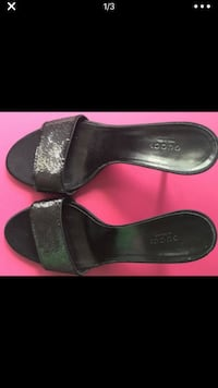 Black authentic GUCCI leather slip on shoes