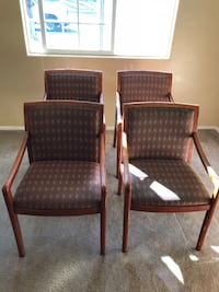 two brown wooden framed black padded chairs Bakersfield, 93312