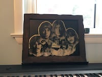 glass Beatles mirror 1970' s wooden frame print Camp Hill, 17011