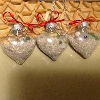 3 GLASS HEART ORNAMENTS WITH BEACH GLASS/SAND Welland, L3C