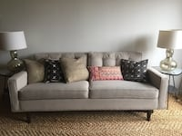 Contemporary White Upholstered Button Tufted Two Cushion Sofa (1016941) South San Francisco
