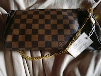 Damier Ebene Louis Vuitton leather wristlet Beaumont, 77703