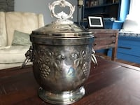 W&S Blackinton silverplate ice bucket w/lion's head handles with insert. Someone talented can use for a flower arrangement   Worcester, 01609