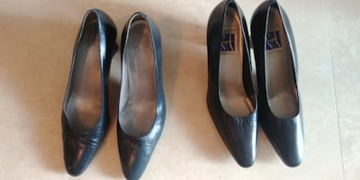 Leather Low Heel Shoes - Navy & Black