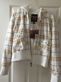 White black and brown plaid zip-up hoodie jacket