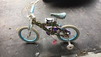 toddler's black and blue bicycle with training wheels Vaughan, L4K 1K4